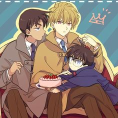 Heiji, Conan, and Hakuba  by Akiyoshi