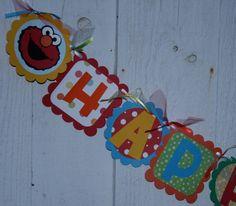 HAPPY BIRTHDAY Sesame Street Banner by CreativeQueenBee on Etsy, $28.00