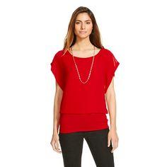 Women's Short Sleeve Drapey Front Blouse - Halo