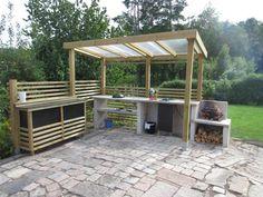 Outdoor Garden Sink, Outdoor Spaces, Outdoor Living, Outdoor Shelters, Summer Kitchen, Pergola Designs, House Rooms, Lawn And Garden, Garden Projects