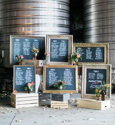Gold + chalkboard frame escort card display