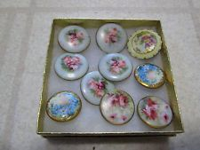 Lot of Antique Victorian Hand-Painted Enamel on Porcelain Clothing Buttons