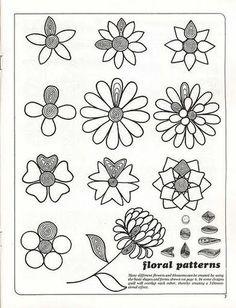 На схеме показаны примеры простых цветов. Если сделать их несколько штук, а потом наклеить на основу получатся очень красивые открытки.