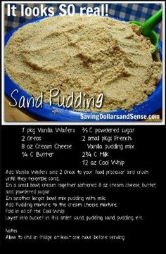 So cute for a kids summer birthday party Sand pudding! So cute for a kids summer bir Luau Birthday, Birthday Parties, Mermaid Birthday, Summer Birthday, Birthday Ideas, Moana Birthday Cakes, Beach Cake Birthday, Moana Birthday Party Ideas, Hawaiian Birthday