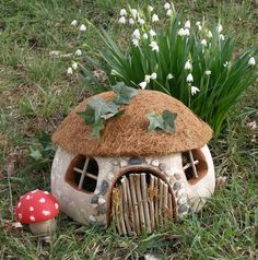 Smooth Foam Gnome Home # FairyGardening - Gartendekoration Fairy Garden Houses, Gnome Garden, Fairy Gardens, Garden Crafts, Garden Art, Garden Beds, Homemade Garden Decorations, Fairy Doors, Fairy Garden Doors