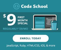 Learn coding from Codeschool with one month subscription for just $9 ( normally $29)
