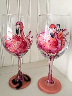 Flamingo Wine Glass. Hand Painted Pink Flamingo Makes a Great Birthday Gift.