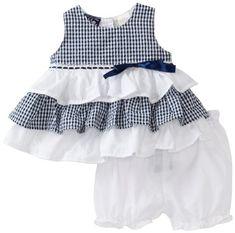 """Vestido para niña, con volantes, en blanco y azul marino... a juego los """"pololos""""."""
