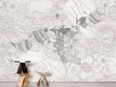 Non-woven paper wallpaper WHOLEARTH by Moustache design Dylan Martorell