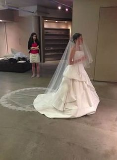 Jennifer Leigh Cathedral Length Tulle Veil With French Imported Chantilly Lace And A Blusher $907