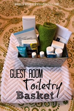Toiletry Basket: An easy addition to any guest room. Fill with items visitors may have forgotten or may need.