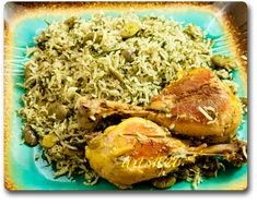 Lima Bean and dill rice with chicken.  baghali polo morgh