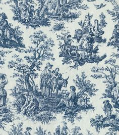 Waverly Home Decor Print Fabric Rustic Toile-Navy at Joann.com - back door curtain?