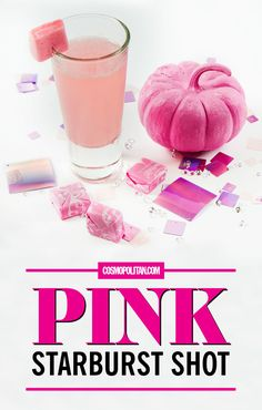 PINK STARBURST SHOT: Create this drink that tastes exactly like your favorite candy with this recipe. You'll need vanilla vodka, DeKuyper Pucker Watermelon Schnapps, sweet and sour mix, and ice! Click through for the full instructions and for more fun drink ideas!