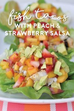 Step into summer with these lettuce-wrap fish tacos topped with a peach and strawberry salsa. Paleo, gluten-free and Whole30-approved, this recipe is a lighter, seasonal spin on traditional fried fish tacos.
