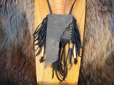 Olive Grey Nubuck Leather Small Shaman Medicine Bag, Buffalo Bone, Obsidian Stone, and Jasper Beads