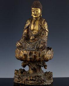 ANTIQUE CHINESE GOLD GILT LACQUER CARVED HARDWOOD BUDDHA FIGURE XUANDE MING Buddha Figures, Antique Rare, Buddhism, Hardwood, Carving, Bronze, Statue, Vintage, Antiques