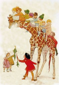Vintage Children on Giraffe  digital download