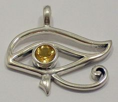 Faceted Citrine Pendant Egyptian Eye of Horus Gem 925 Sterling Silver Jewelry