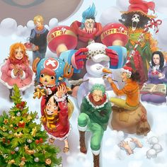 VK is the largest European social network with more than 100 million active users. Monkey D Luffy, One Piece Fanart, One Piece Manga, Holiday Themes, Christmas Themes, Merry Christmas, Zoro, Chopper, Snowy Day