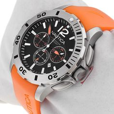 Nautica Men's Black Chronograph Dial Orange Rubber Strap Sport Watch N16567G