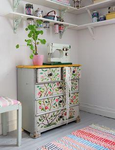 amazing vintage floral-painted dresser