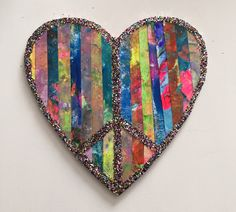hand painted paper art heart wood glitter peace sign heart wall hanging wall art by Lovemyartfarm on Etsy https://www.etsy.com/listing/267043251/hand-painted-paper-art-heart-wood