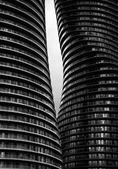 Glass balconies of The Absolute World / Marilyn Monroe Condominiums in Mississauga.