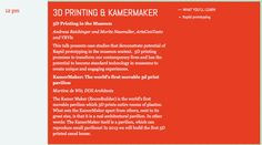 3D Printing in Museums Talk at MuseumNext Conference, Amsterdam. May 14, 12 noon, 2013