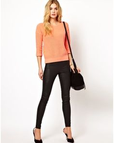 Vila Leather Look Skinny Trouser, Asos