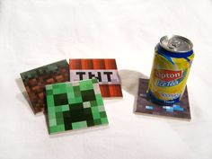 Minecraft Coasters - print out pictures - modge podge onto ceramic tiles.