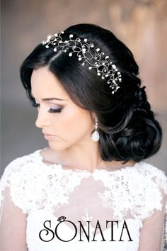 """Купить Свадебный веночек """"Утренняя роса"""" - белый, свадебное украшение, свадебный аксессуар, для прически неветы"""