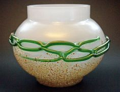 Frit with bands - Classic, Kralik white ball vase with amber frit and a looped green bands around 6 1/2 inches tall, c1900