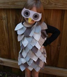 All you need are some old T-shirts, fabric glue, and a few hours to make this easy owl costume  Ellen Luckett Baker made for alphamom.com  Complete How-To: Last-Minute Owl Costume
