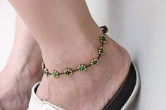Bead Anklets Chrysocolla Daisy Brass Beaded Folk Flower