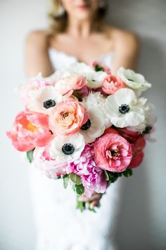Pink and white wedding bouquet | 2020's Dreamiest Pittsburgh Wedding Flowers. For more wedding flower inspiration, visit burghbries.com! #weddingflowers #weddingbouquet Rose Wedding Bouquet, White Wedding Bouquets, Wedding Flower Arrangements, Floral Wedding, Wedding Flowers, Wedding Dresses, Creative Wedding Inspiration, Wedding Flower Inspiration, Anemone Bouquet