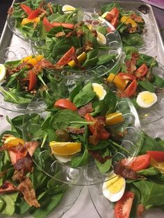 Birches' spinach dinner salad with tomatoes, bacon, sliced orange, and half boiled egg for protein Half Boiled Egg, Birches, Assisted Living, Dinner Salads, Tomatoes, Spinach, Bacon, Protein, Orange