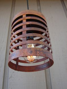 Rusty Steel Rustic Industrial Pendant Light by BenclifDesigns, $156.00