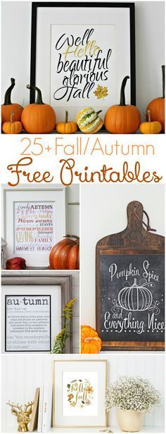 25+ fall free printables - these look so nice! Perfect for some quick and easy home decor diy! | lollyjane.com
