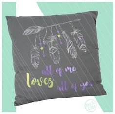 Kissenbezüge - Kissen in grau FEDERN - LOVE silber limette lila - ein  Designerstück von KOAHEA da79c0a6e1