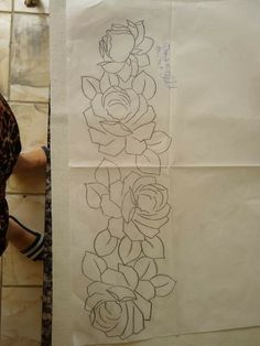 Hand Embroidery Designs, Embroidery Stitches, Embroidery Patterns, Machine Embroidery, Bed Sheet Painting Design, Fabric Painting, Leather Working Patterns, Flower Sketches, Flower Coloring Pages