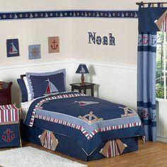 Sweet Jojo Designs Nautical Sailboat 3-piece Full/Queen Comorter Set | Overstock.com Shopping - Great Deals on Sweet Jojo Designs Kids' Bedding