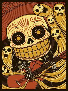 dia de muertos - gold skull