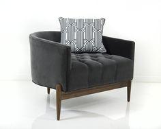 Art Deco Chair in Saphire Velvet