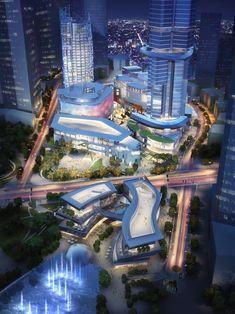 positioned within the center of the master plan, this district is linked together through a series of sunken gardens, underground malls, bridges and landscaped pedestrian streets. Singapore Architecture, Futuristic Architecture, Facade Architecture, Concept Architecture, Amazing Architecture, Landscape Architecture, Mix Use Building, Building Design, Future Buildings