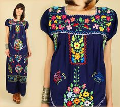 ViNtAgE 70's Floral Embroidered Handmade Maxi Hippie Dress Mexican Wedding S. $98,00, via Etsy.