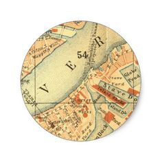 London Thames Vintage Map Classic Round Sticker - diy cyo personalize design idea new special custom