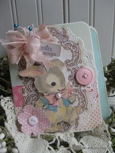 Easter bunny card- vintage style peter rabbit card- handmade EASTER Wishes card