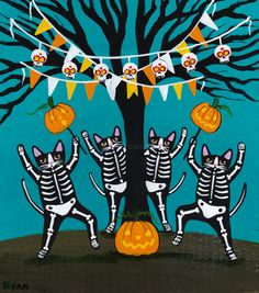 Celebration of Halloween Skeleton Cats Original Folk Art Painting by KilkennycatArt