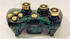 Microsoft Xbox 360 Hydro Dipped Metallic Green Skulls Gamepad Shell With A Complete Bullet Buttons Set - 7mm Guide, 9mm Abxy, 12g Shotshells Analog Thumbsticks + dpad. Custom Wireless Controller FireZonePro http://www.amazon.com/dp/B00WLK54FS/ref=cm_sw_r_pi_dp_5Jt-vb173979F